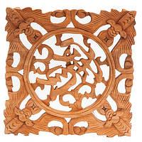 """Картина """"Летучие мыши с иероглифом Сокровище"""" 19х19 см коричневая (В4749)"""