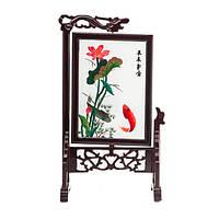 """Картина на подставке """"Две рыбки"""" вышивка двухсторонняя 32х19 см разноцветная (В4762)"""
