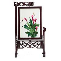 """Картина на подставке """"Цветы"""" вышивка двухсторонняя 32х19 см разноцветная (В4759)"""