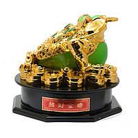 Статуэтка Трехлапая жаба на монетах 17х20х20 см золотистая (А7272а)