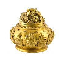 Чаша богатства с крышкой 10,5х13 см желтая (5164)