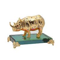 Статуэтка Носорог на стеклянной подставке 9х15 см. золотистая (В4803)