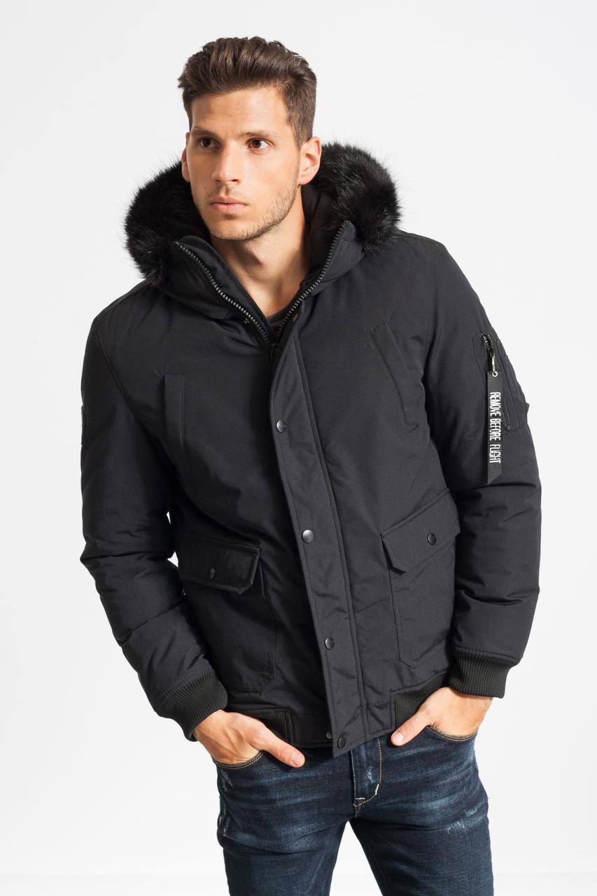 Чоловіча тепла демісезонна куртка з капюшоном