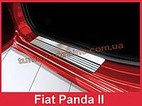Накладки на пороги из нержавеющей стали Avisa на Fiat Panda 2012-2016 матовые