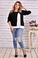 Блузка-накидка 0635-3 черный большого размера 42-74 батал | Индивидуальный пошив