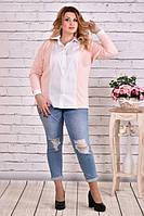Блузка-рубашка 0637-2 большого размера 42-74 батал | Индивидуальный пошив