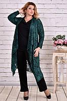 Комплект 0632-3 зеленая накидка + блузка большого размера 42-74 батал | Индивидуальный пошив