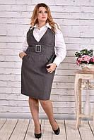 Платье 0628-1 серое (блузка 0646 отдельно) большого размера 42-74 батал | Индивидуальный пошив