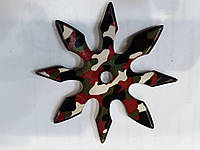 Сюрикен метательный звёздочка камуфляж 8 конечный  в чехле