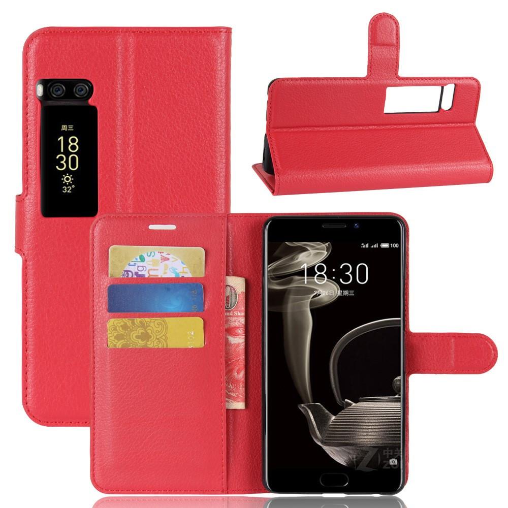 Чехол книжка для Meizu PRO 7 Plus боковой с отсеком для визиток, красный