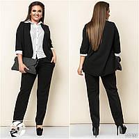 Стильный женский брючный костюм черного цвета. Модель 14797
