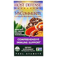 Fungi Perfecti, Иммунная защита, MyCommunity, 120 растительных капсул, FPI-03813