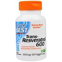Doctor's Best, Транс-ресвератрол 600, 600 мг, 60 вегетарианских капсул, DRB-00416