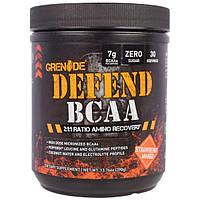 """Grenade, """"Защита BCAA"""", комплекс аминокислот с разветвленными боковыми цепями (BCAA), со вкусом клубники и манго, 13,76 унций (390 г), GRD-00083"""