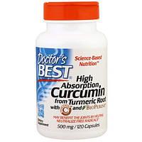 Doctor's Best, Куркумин высокого усвоения, 500 мг, 120 капсул, DRB-00107