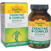 Country Life, Коферментный комплекс витаминов группы B, улучшенная формула, 120 растительных капсул, CLF-06403