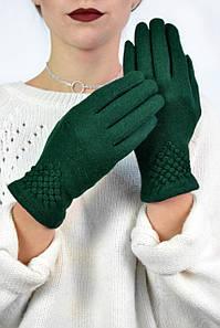Женские перчатки кашемировые Крокембуш зеленые размер 7