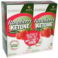 Genceutic Naturals, Малиновый кетон и зеленый чай 2 упаковки, 60 капсул каждый (Discontinued Item), GNT-00127