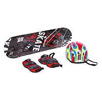 Набор скейтборд с защитой и шлемом