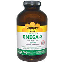 Country Life, Омега-3, 1000 мг, 300 мягких капсул, CLF-04450