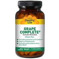 Country Life, Grape Complete, включает сосновую кору, 90 вегетарианских капсул, CLF-07316