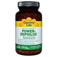 Country Life, Country Life, не содержит глютена, пробиотик Power-Dophilus, 200 веганских капсул, CLF-03057