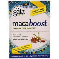 Gaia Herbs, MacaBoost, Настоящий ванильный чай, 14 пакетов, 0,25 унции (7 г) каждый, GAI-14736