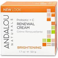 Andalou Naturals, Восстанавливающий крем, пробиотик + витамин C, улучшающий цвет лица, 1,7 жидкой унции (50 мл), ADN-00230