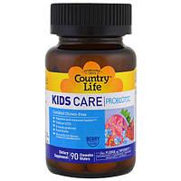 Country Life, Пробиотик Kids Care, ягодный вкус, 90 жевательных вафель, CLF-03048