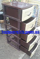 Комод пластиковый на 5 ящиков бежево-коричневый производство Украина , фото 1