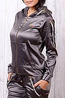 Стильный атласный батальный спортивный костюм женский Турция на молнии XS S M L XL хаки, фото 1