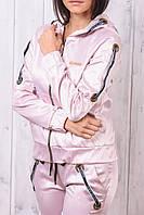 Стильный атласный спортивный костюм женский Турция на молнии XS S M L XL пудра