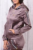 Стильный атласный спортивный костюм женский Турция на молнии XS S M L XL капучино