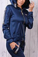 Стильный атласный спортивный костюм женский Турция на молнии XS S M L XL синий