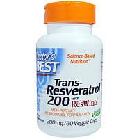 Doctor's Best, Транс-ресвератрол, таблетки 60 овощных капсул, DRB-00211