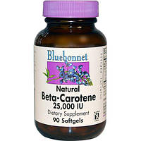Bluebonnet Nutrition, Натуральный бета-каротин, 25,000 МЕ, 90 гелевых капсул, BLB-00316