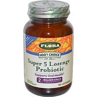 Flora, «Выбор Удо», пробиотик в пастилках Super 5, 60 пастилок, FLO-61950