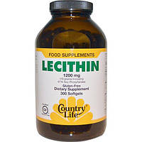 Country Life, Лецитин, 1200 мг, 300 капсул, CLF-04205