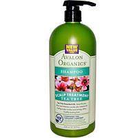 Avalon Organics, Шампунь,терапия для кожи головы, чайное дерево, 32 жидких унций (946 мл), AVA-36128
