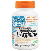 Doctor's Best, L-аргинин, 500 мг, 120 двухслойных таблеток, DRB-00200