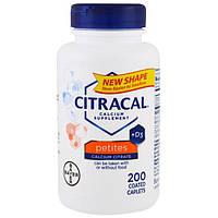 Citracal, Bayer, цитрат кальция + D3, маленькие таблетки, 200 таблеток, покрытых оболочкой, CCL-53503