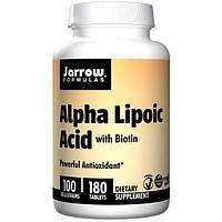 Jarrow Formulas, Альфа-липоевая кислота, с биотином, 100 мг, 180 легко растворяемых таблеток, JRW-20003