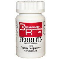 Cardiovascular Research Ltd., Ферритин, 5 мг, 60 капсул, CVR-03491