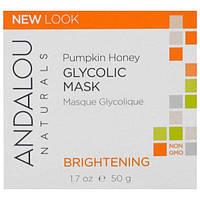 Andalou Naturals, Гликолевая маска, с тыквой и медом, осветляющая, 1.7 жидких унций (50 мл), ADN-00226