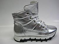 Кожаные женские зимние ботинки серебряного цвета ТМ Eliza, фото 1