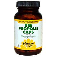 Country Life, Пчелиный прополис в капсулах, 250 мг, 100 вегетарианских капсул, CLF-03131