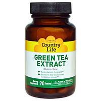 Country Life, Экстракт зеленого чая, 90 таблеток, CLF-09753