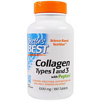 Doctor's Best, Collagen, Types 1 and 3 with Peptan, 1,000 mg, 180 Tablets, DRB-00204