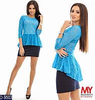 Женская бирюзовая блуза с баской. Стрейчевый гипюр. Арт-12505