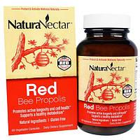 NaturaNectar, Абсолютно натуральный красный пчелиный прополис , 60 вегетарианских капсул, NNR-32653
